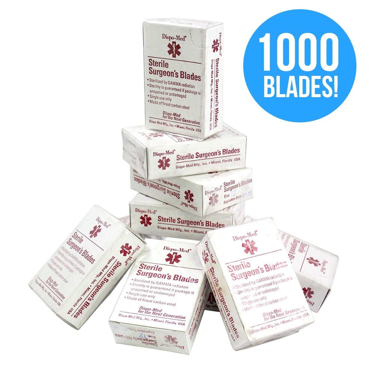 Dispo-Med #12 Sterile Surgeon's Blades - 10 Boxes Of 100