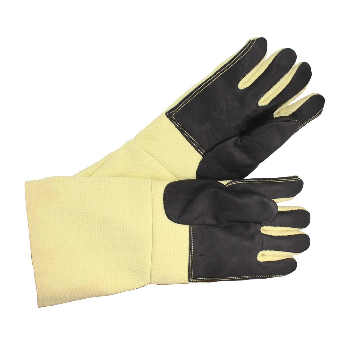 "18"" Yellow Non-Asbestos Leather Palm Gloves Pair"