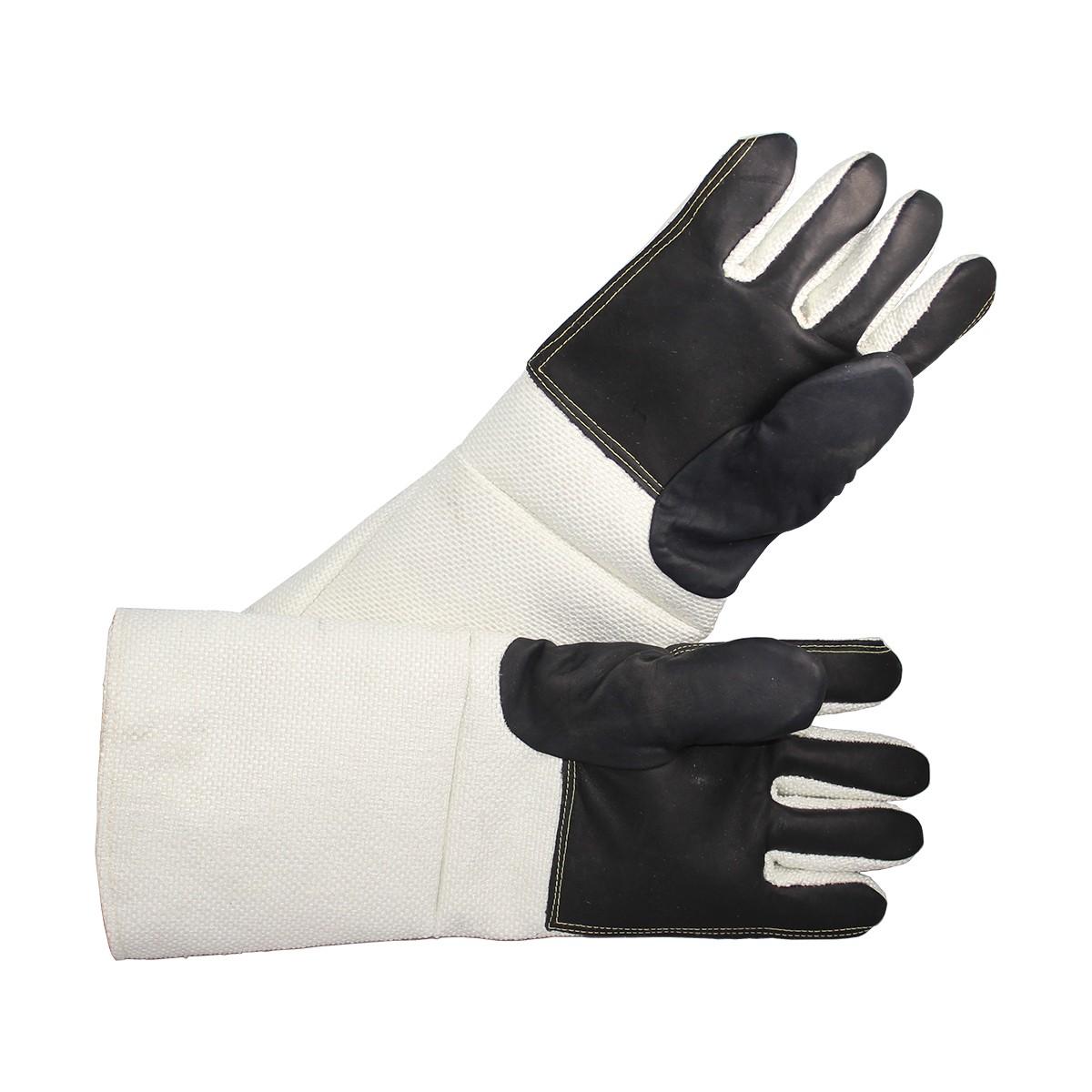 "Pair of 18"" White Non-Asbestos, Leather Palm Gloves Pair"