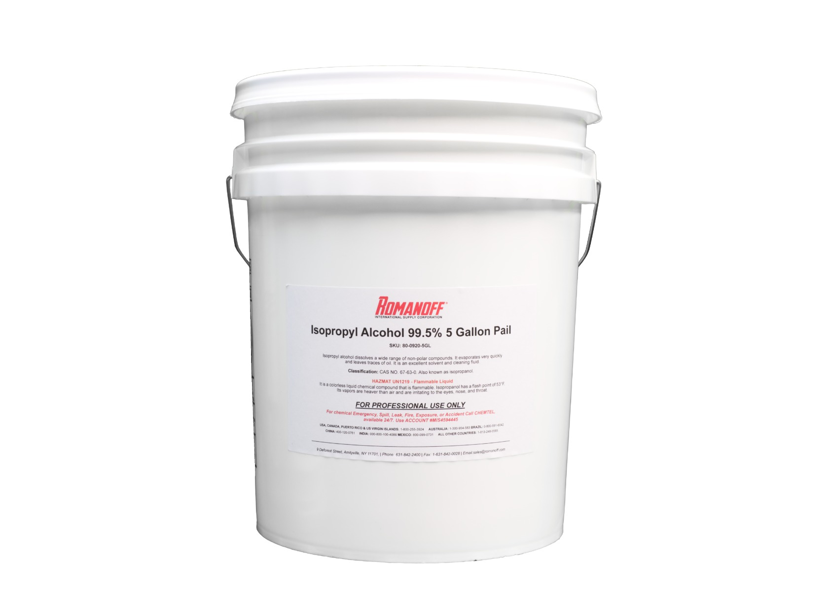 Isopropyl Alcohol 99.5% 5-Gallon Pail