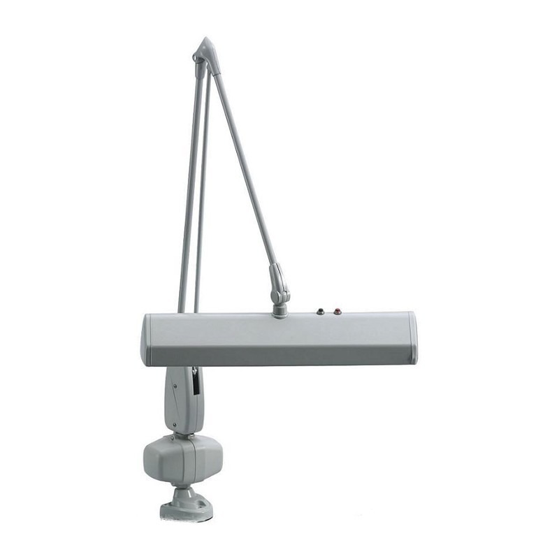"Dazor Lamp Two Bulb Clamp Type Dove-Gray 43"" Reach 110V"