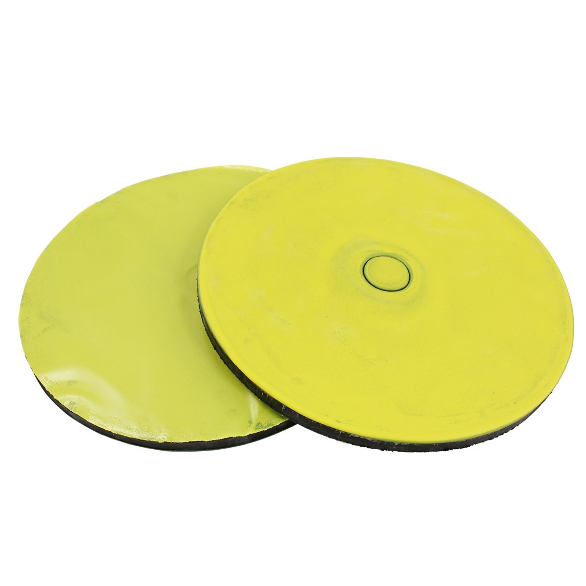"Romanoff Super Tuff Black Rubber 12"" Yellow Poly Disc"