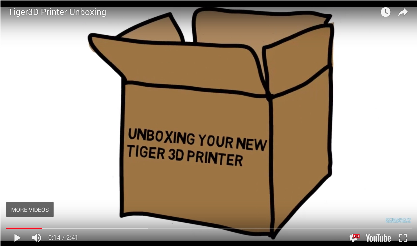 Tiger3D Printer Unboxing Video