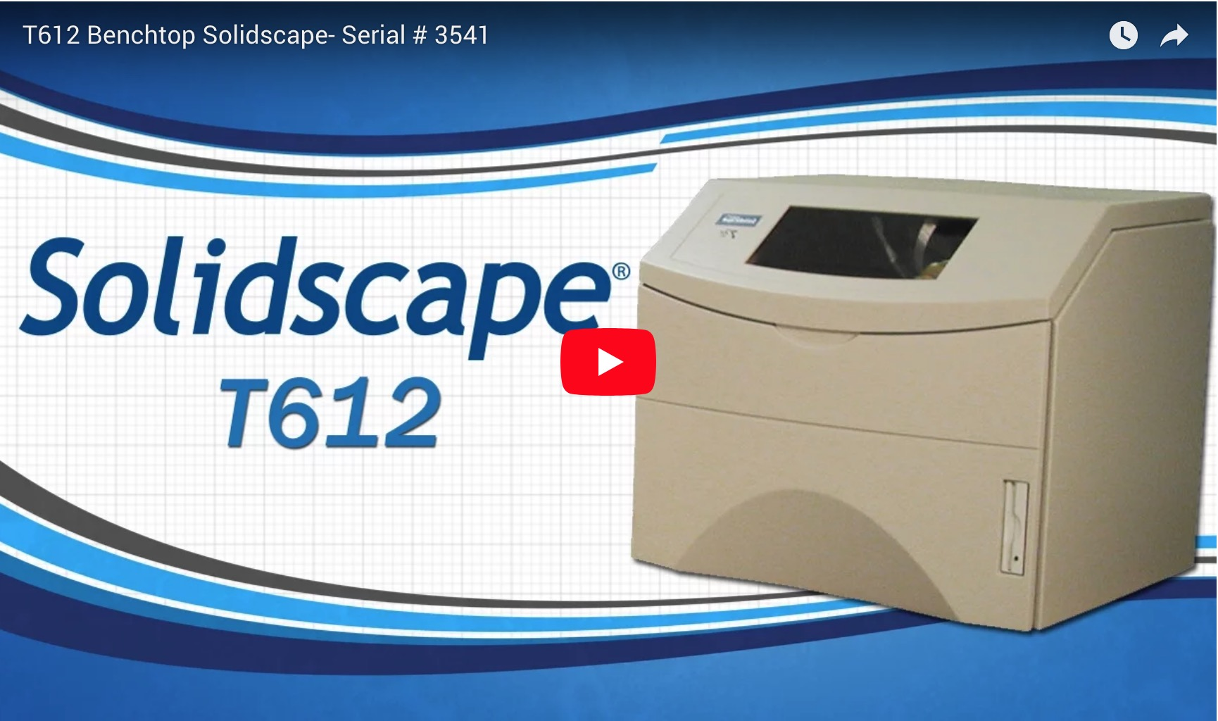 T612 Benchtop Solidscape - Serial # 3541