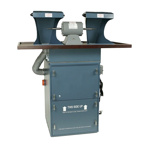Stand Up Floor Model Polishing System - 1 HP Dust Collector, 1/2 HP Double Spindle Polishing Motor & 2 Hoods